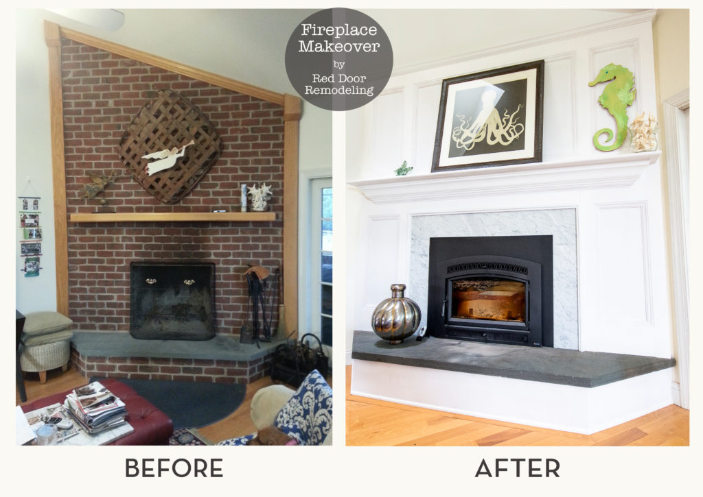 Before and After Fireplace by Red Door Remodeling